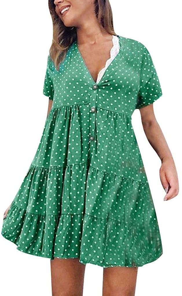 terbklf Polka Dot Dress for Women Vintage Button Down Dresses for Women Casual Summer Ladies Pleated Beach Mini Dress