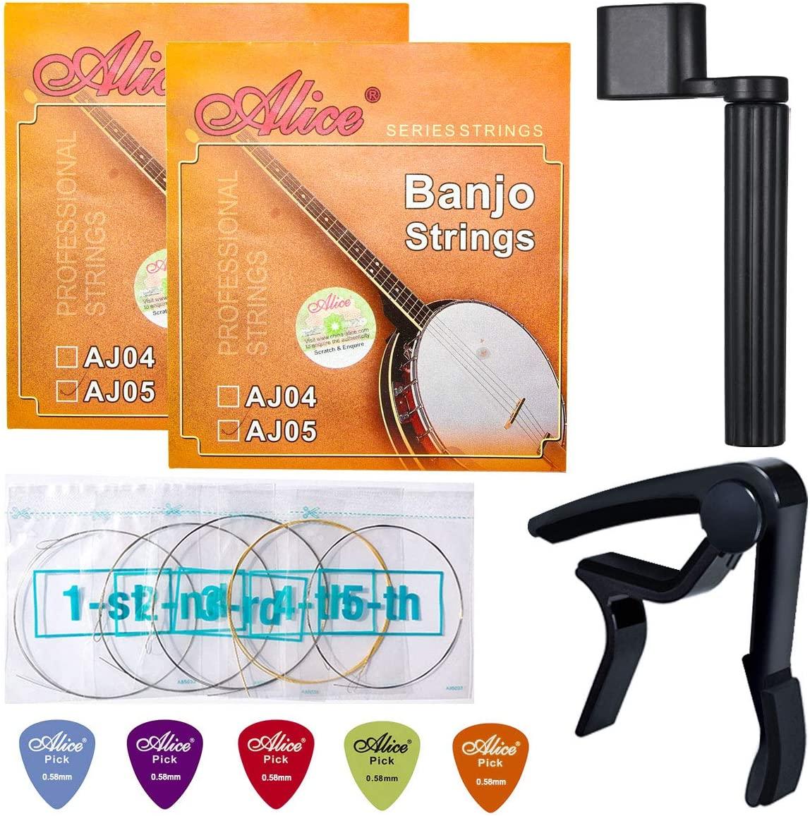 Banjo Strings, Yoklili 2 Sets of 5-String Plated Steel Banjo Strings Set, Light, 09-20, Bonus 5 Matte Nylon Standard Picks, String Winder and Capo included