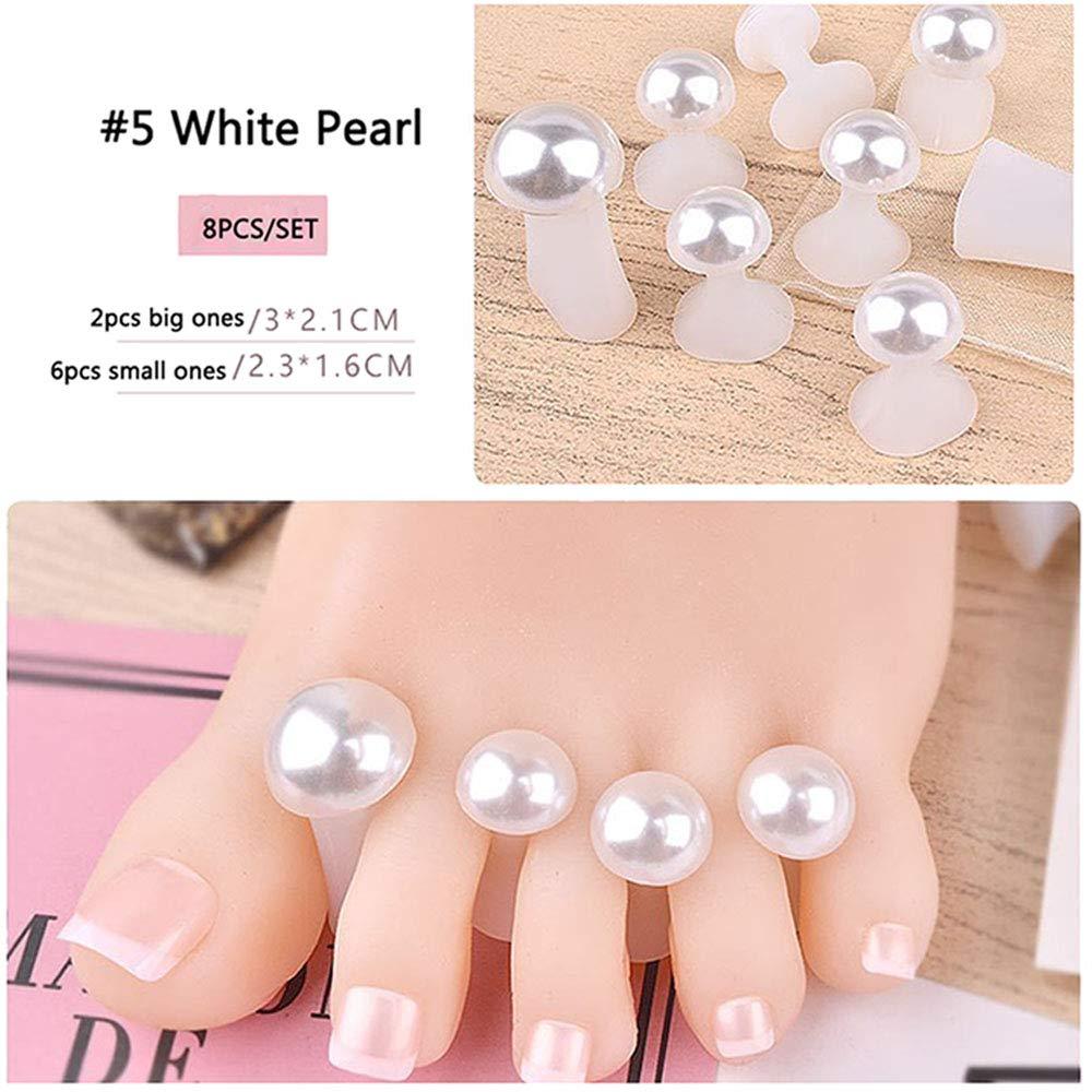 Lookathot 8PCS/Set Soft Silicone Finger Toe Separators Spacers CushionsToes Dividers Nail Art Manicure Pedicure DIY Tools Reusable (#5 White Pearl(8PCS))