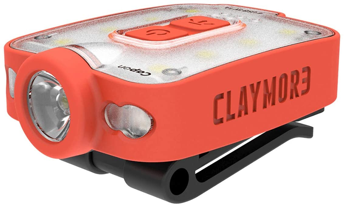 Claymore Capon 40B – Ultra-Lightweight Rechargeable LED Hands Free Clip On Light, 3 Lighting Modes/Red LED, 230 Lumens, 400mAh, 29g, Portable Light for Camping Fishing Running and More [Red]