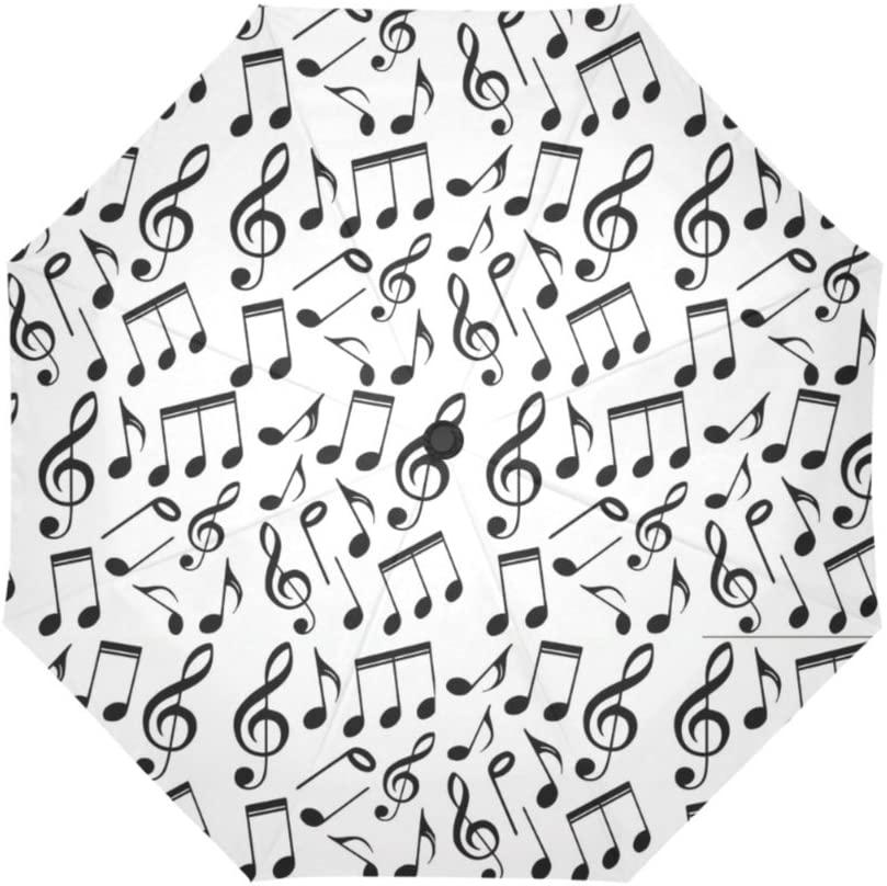Artsbaba Music Note Umbrella Rain Windproof Auto Open Close Compact Travel Umbrella Folding