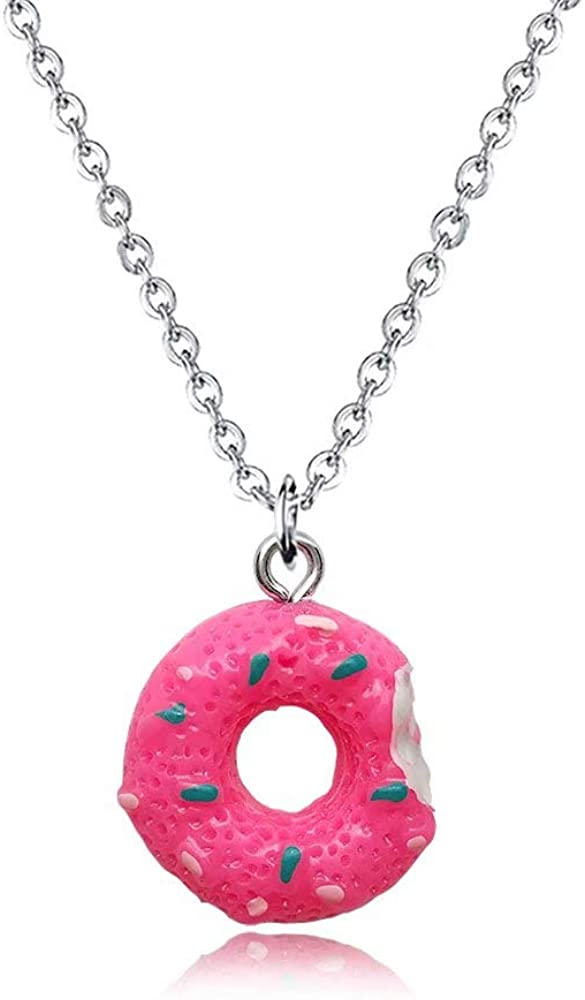 YOUCANDOIT2 Cute Mini Imitation Food Donut Cream Cookie Pendant Necklace for Girls Kids Friendship Sister BFF 7 Colors