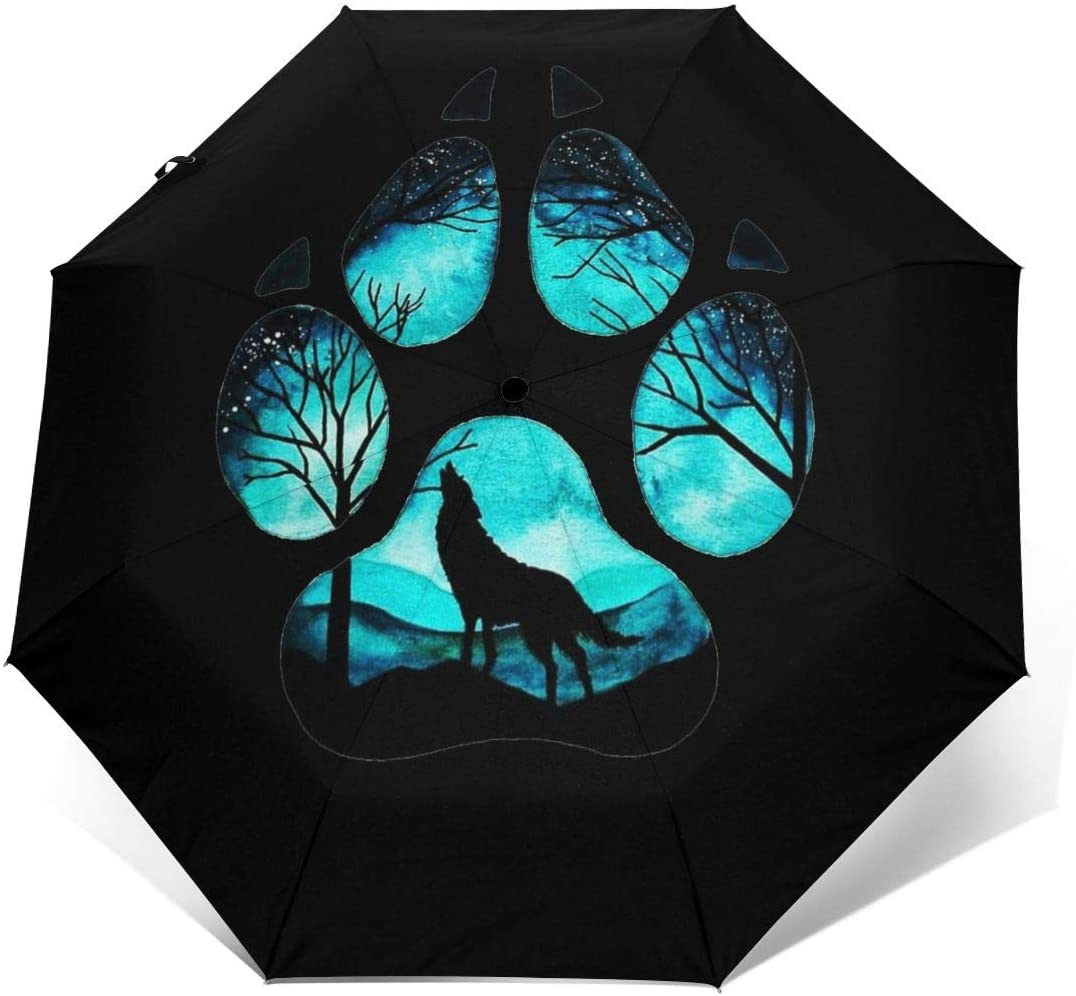 Paw Galaxy Night Wolf Windproof Automatic Folding Umbrella Tri-fold Umbrella
