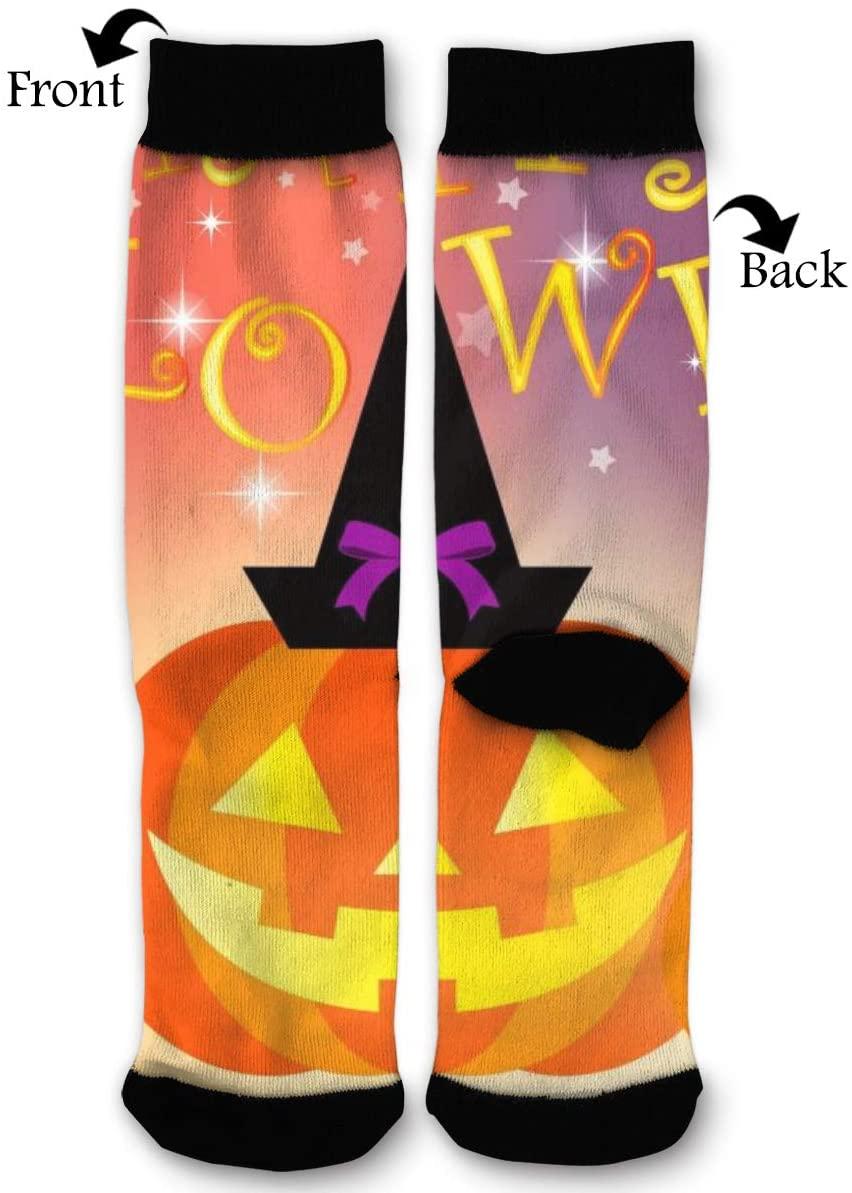 NRIEG Halloween Pumpkin Cat High Ankle Sock Men Women All Season Soft Cotton Breathable Printed Sport Compression Socks