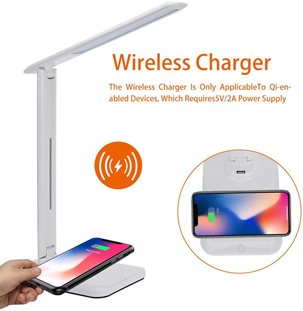 Y56 Stylish Metal LED Desk Lamp with Fast Wireless Charger, 5V/2A USB Charging Port, 3 Color Modes, Touch Control, Timer, Night Light, Enabled Licensing Program Dimmable Office Lamp Table Lamps