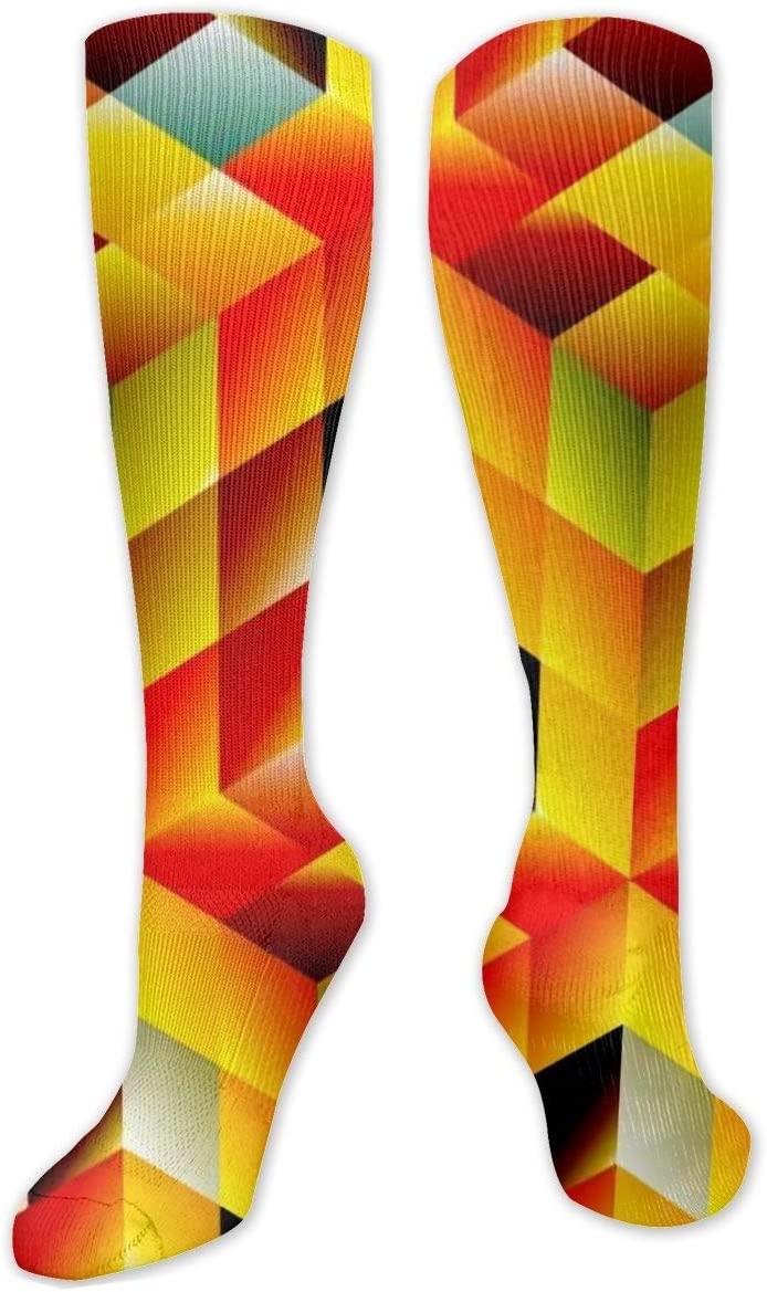 Compression Sock for Women & Men,Space Stereo Pattern CasualLongKneeHighTubeSocksforRunnning,SoccerAthleticSports,Travel-50cm