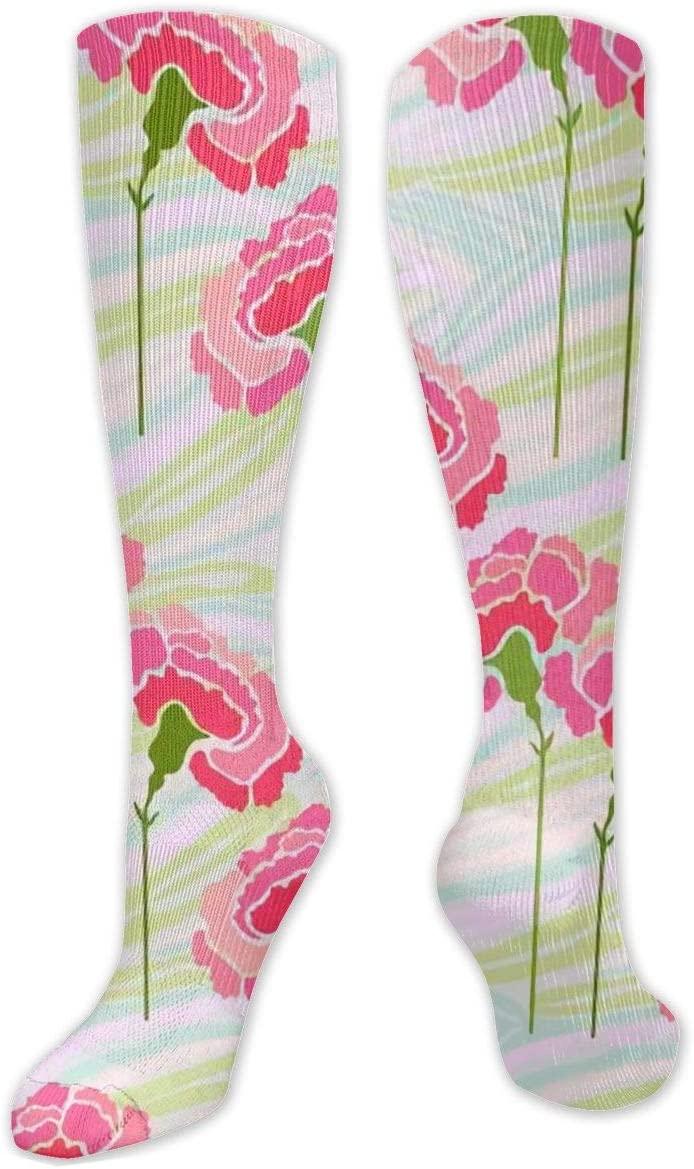 Compression Sock for Women & Men,Carnation Flower On A Zebra CasualLongKneeHighTubeSocksforRunnning,SoccerAthleticSports,Travel-50cm