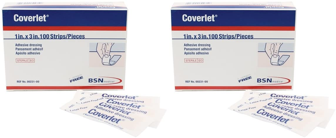 Coverlet Latex-Free Adhesive Dressings Strips - 1 inch X 3 Inches-100 / Box (2 Pack)
