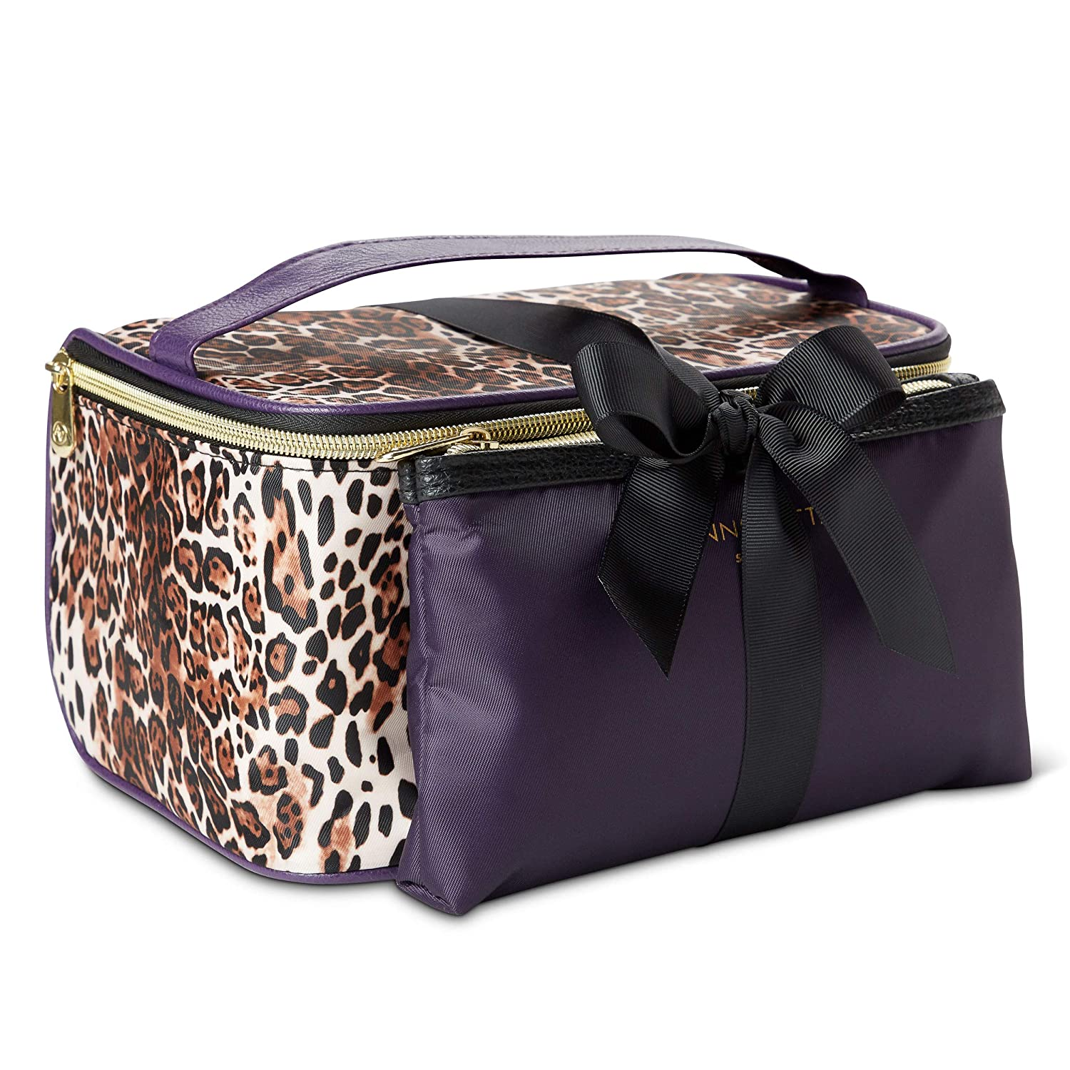 Adrienne Vittadini Makeup Bag Set: Nylon Carry On Toiletry & Cosmetic Train Case with Zipper for Women - Tote Bags with Plenty of Storage for Overnight Travel or Weekender Trips - Leopard