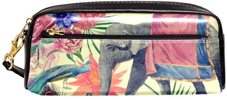 Watercolor Elephant Peacocks Feathers Pineapple Leaf Lotus Pouch Case Women Makeup PU Leather Cosmetic Bags Kids School Portable Stationary Pencil Bag