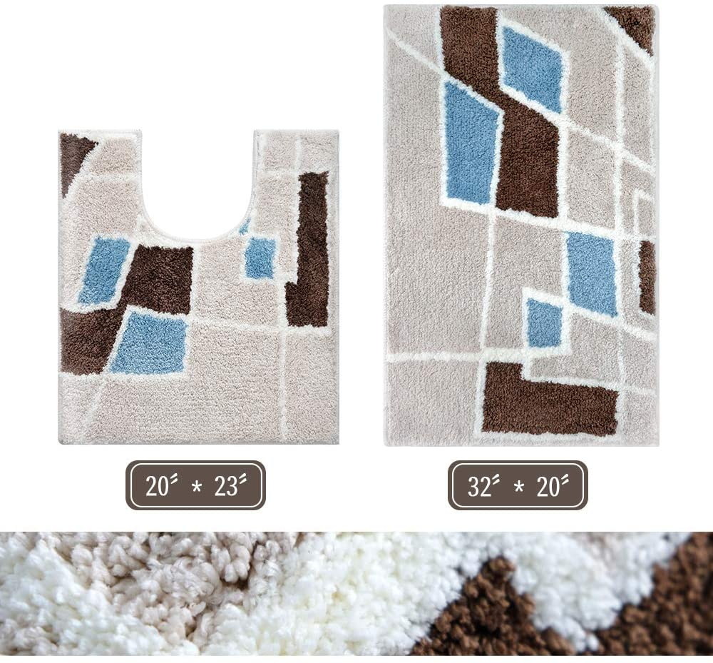 ROMAHOME Geometry Bath Mats Bathroom Rugs Set 2 Piece U-Shape Contoured Mat + 32