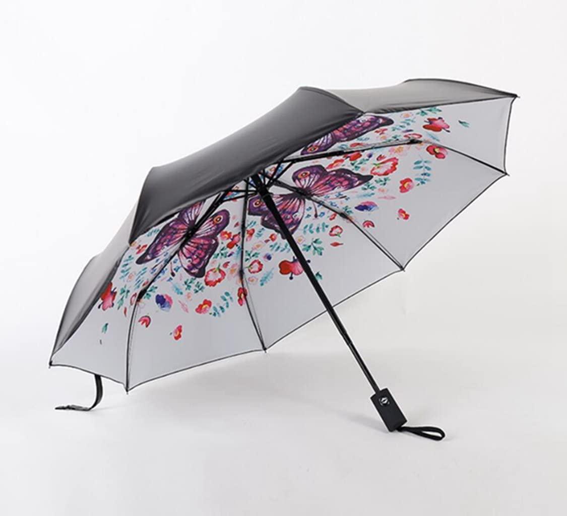 Sucastle Vinyl, cypress umbrella, sunny, dual, 8 bone, black umbrella, three fold, umbrella Sucastle:Colour:Outside the black and white:size:54cm