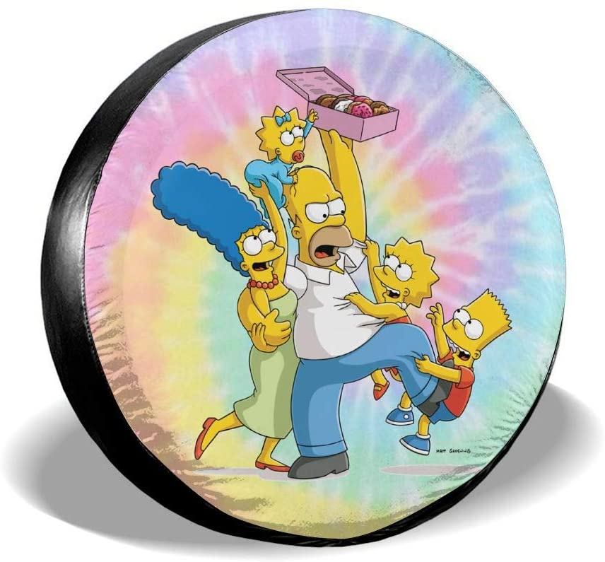 N/N The Simpsons Nspare Tire Cover Universal Spare Wheel Tire Covers for Jeep, Rv, SUV, Trailer, Truck