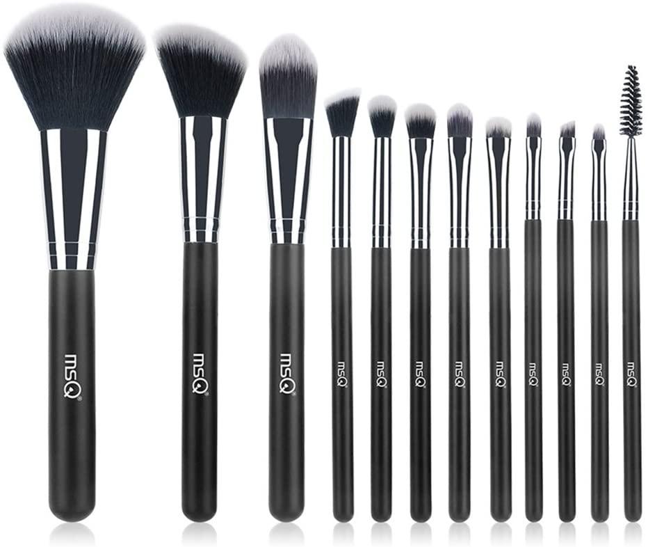 MSQ Makeup Brushes 12pcs Professional Cosmetic Brushes,Soft Synthetic Hair for Foundation, Powder, Blush, Eyeshadow,Lip -Black