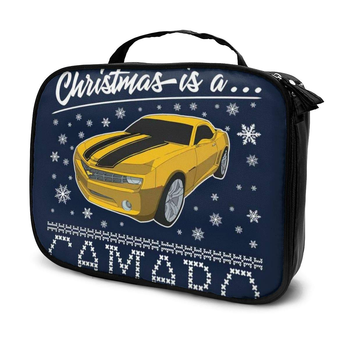 Multi-Functional Bag With Compartments All I Want For Christmas Is A Camaro Professional Cosmetic Pouch Travel Kit Makeup Boxes Makeup Bag