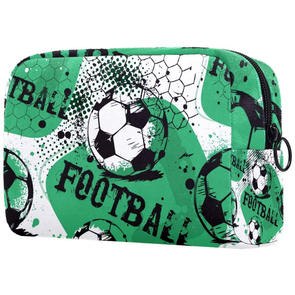 Football Sport Pattern Makeup Bags Portable Tote Cosmetics Bag Travel Cosmetic Organizer Toiletry Bag Make-up Cases for Women
