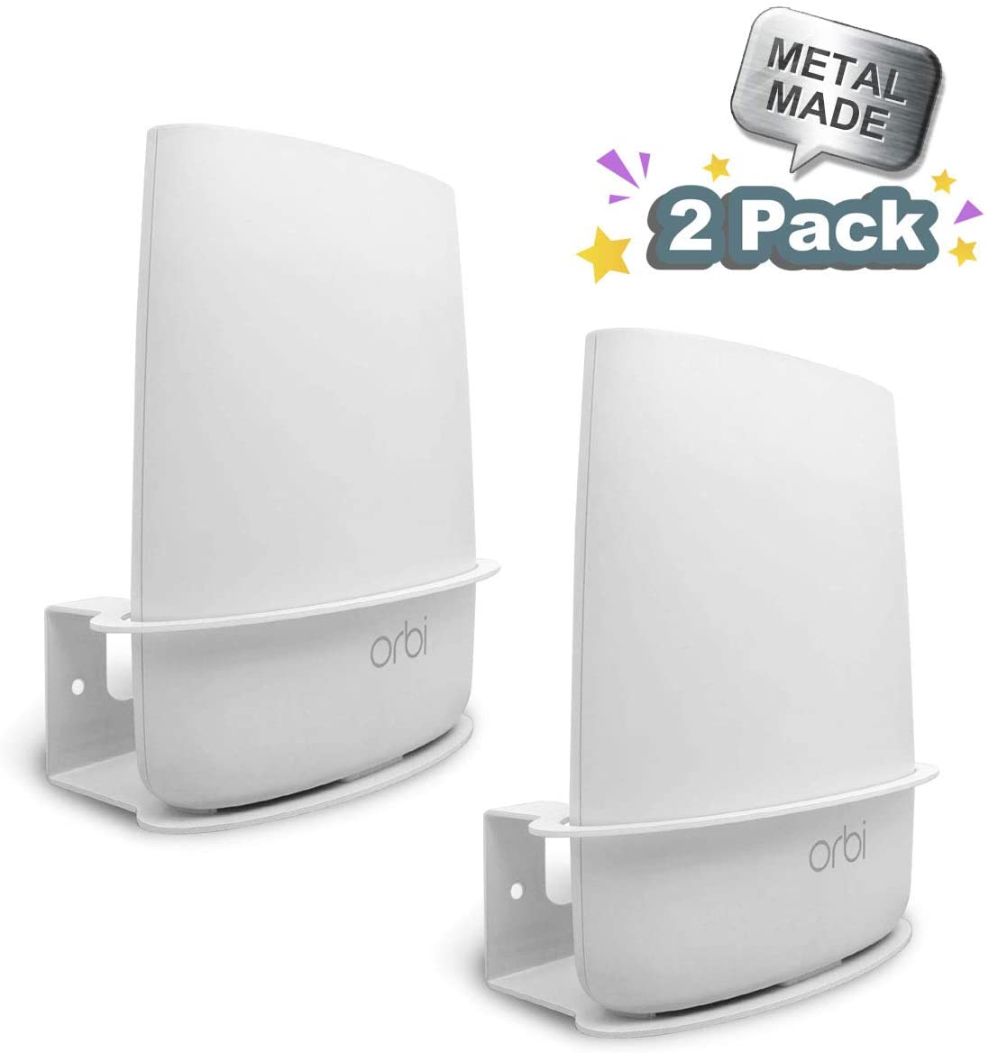 ALLICAVER Compatible Wall Mount Netgear Orbi, Sturdy Metal Made Mount Stand Holder Compatible Orbi WiFi Router RBR20, RBS20, RBK20, RBK23 Tri Band Home WiFi Router. (Mini orbi - 2pcs)