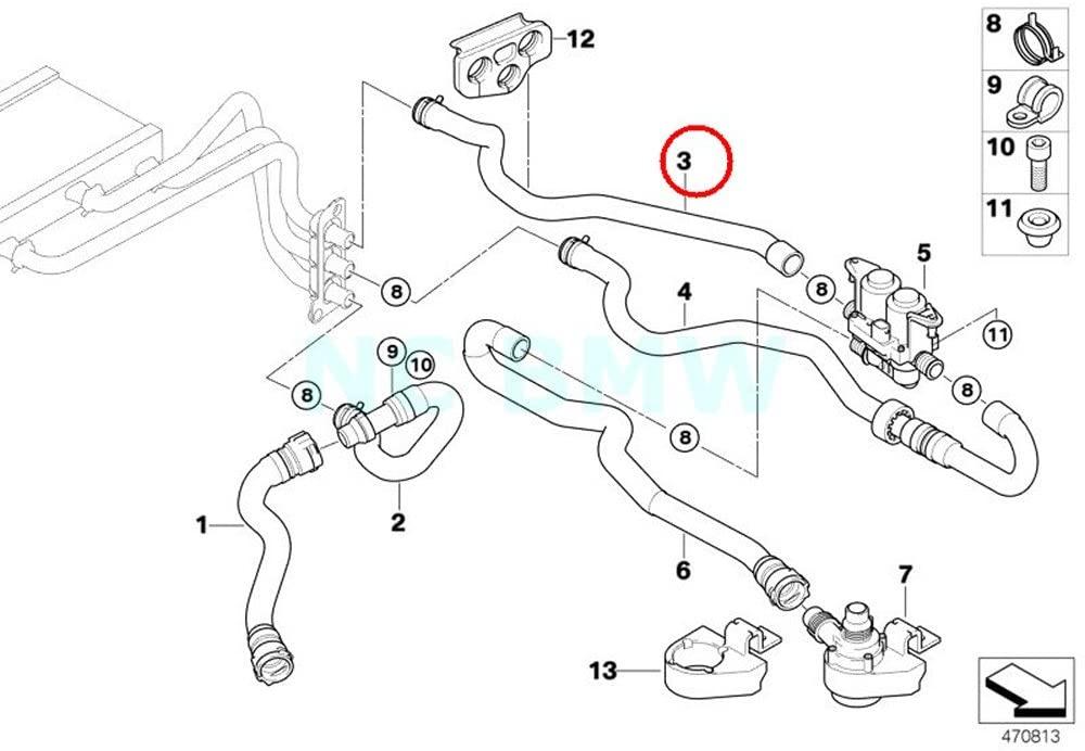 BMW Genuine Hose F Water Valve And Radiator