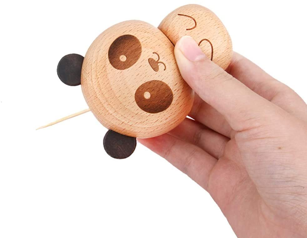 RuiXia Solid Wood Creative Cartoon Little Panda Toothpick Can Toothpick Box Home Living Room Study Restaurant Decoration Wooden Craft Fun Gift, Strong Sense of Three-Dimensional Wall Decoration