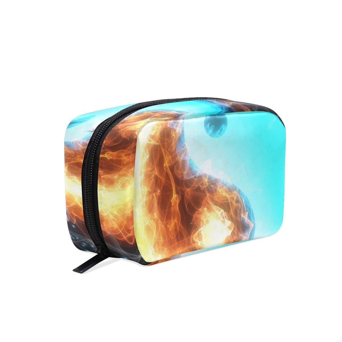 Cosmetic Makeup Bag Pouch Art Water Fire Yin Yang Clutch