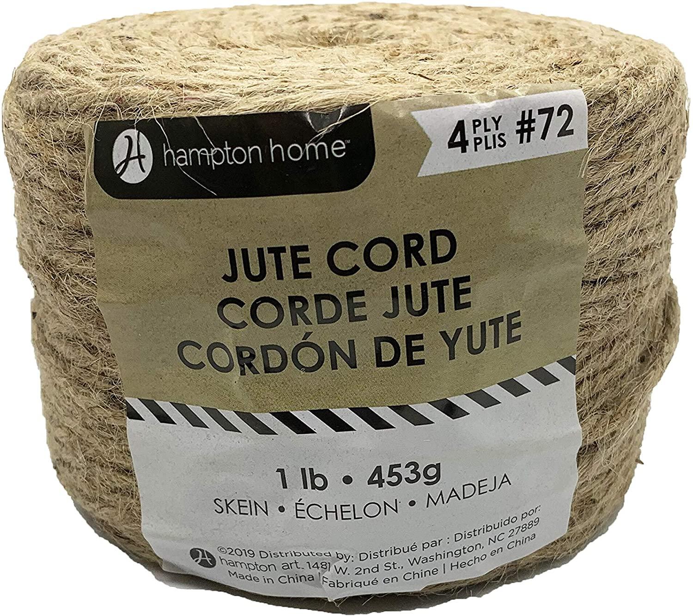 Hampton Art 4-Ply Natural Floral Jute Rope Cord in Roll, 1 LB