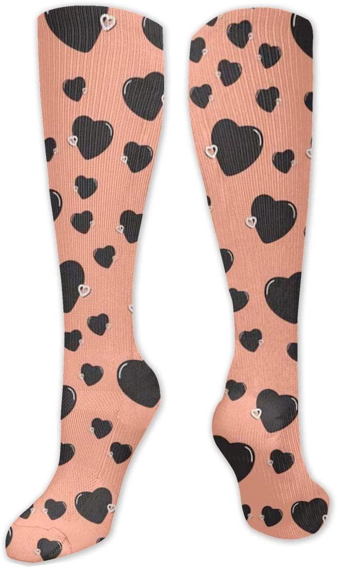 Compression Sock for Women & Men,Simple Heart Sharp Beautiful CasualLongKneeHighTubeSocksforRunnning,SoccerAthleticSports,Travel-50cm