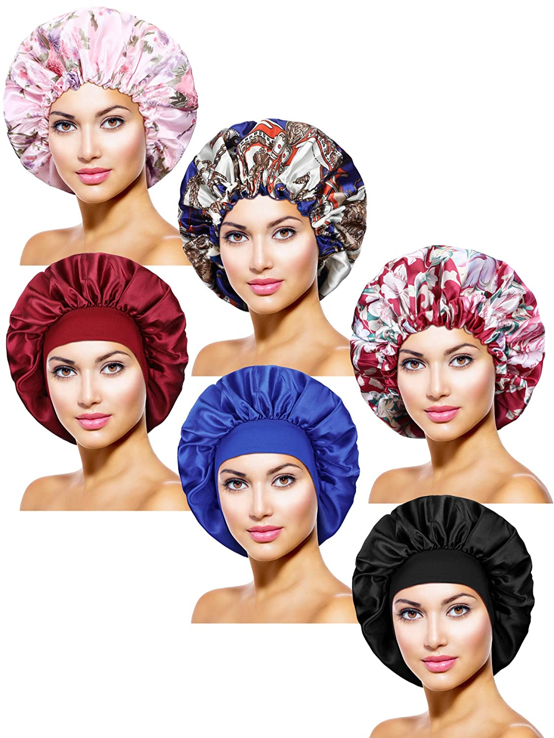 6 Pieces Satin Bonnet Sleep Cap Adjustable Elastic Drawstring Night Hat Wide Edge Sleep Cap in Different Patterns and Colors for Women Girls Sleeping Supplies