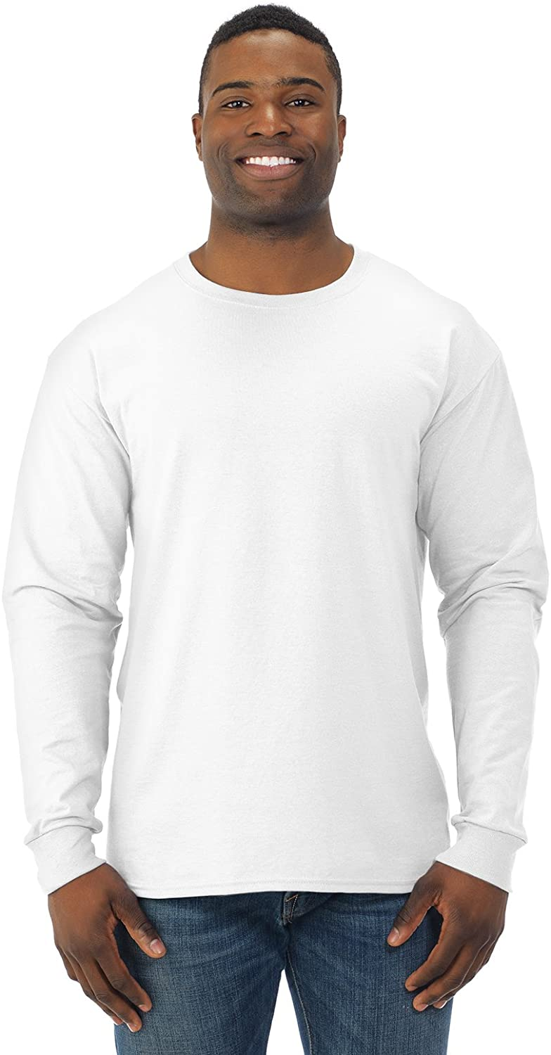 Adult Long-Sleeve Heavyweight Blend T-Shirt (White) (2X-Large)