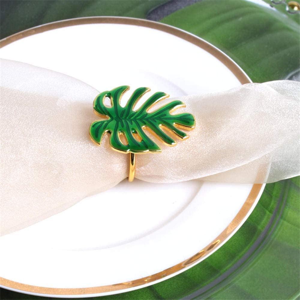 TougMoo 6Pcs/ 4Pcs Metal Green Leaf Napkin Rings for Wedding Dinner Party Christmas Kitchen Gold Leaf Serviette Buckle Napkin Decoration-6Pcs_Gold