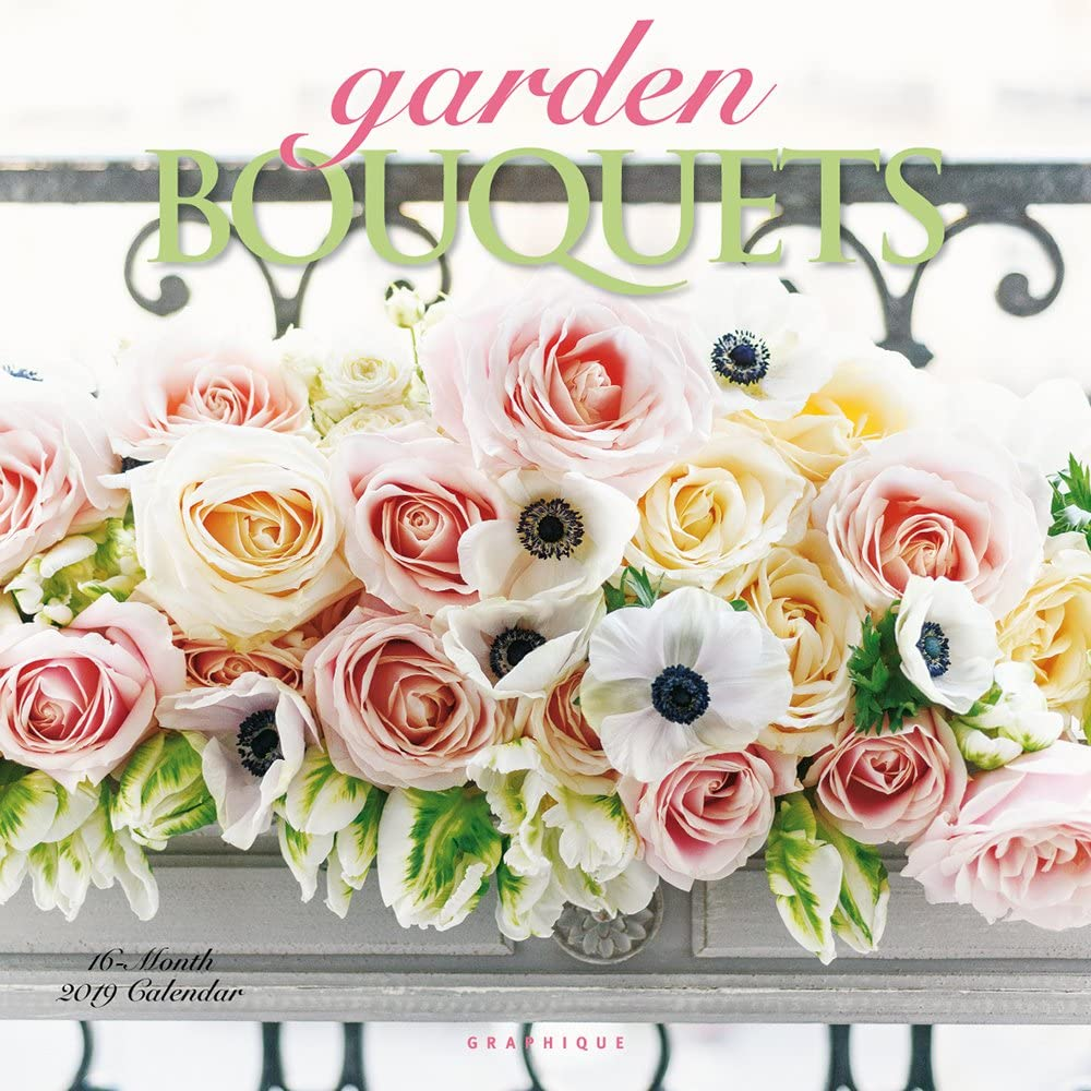 Graphique Garden Bouquets Wall Calendar, 16-Month 2019 Wall Calendar with Colorful Floral Arrangements, 3 Languages & Major Holidays, 2019 Calendar, 12