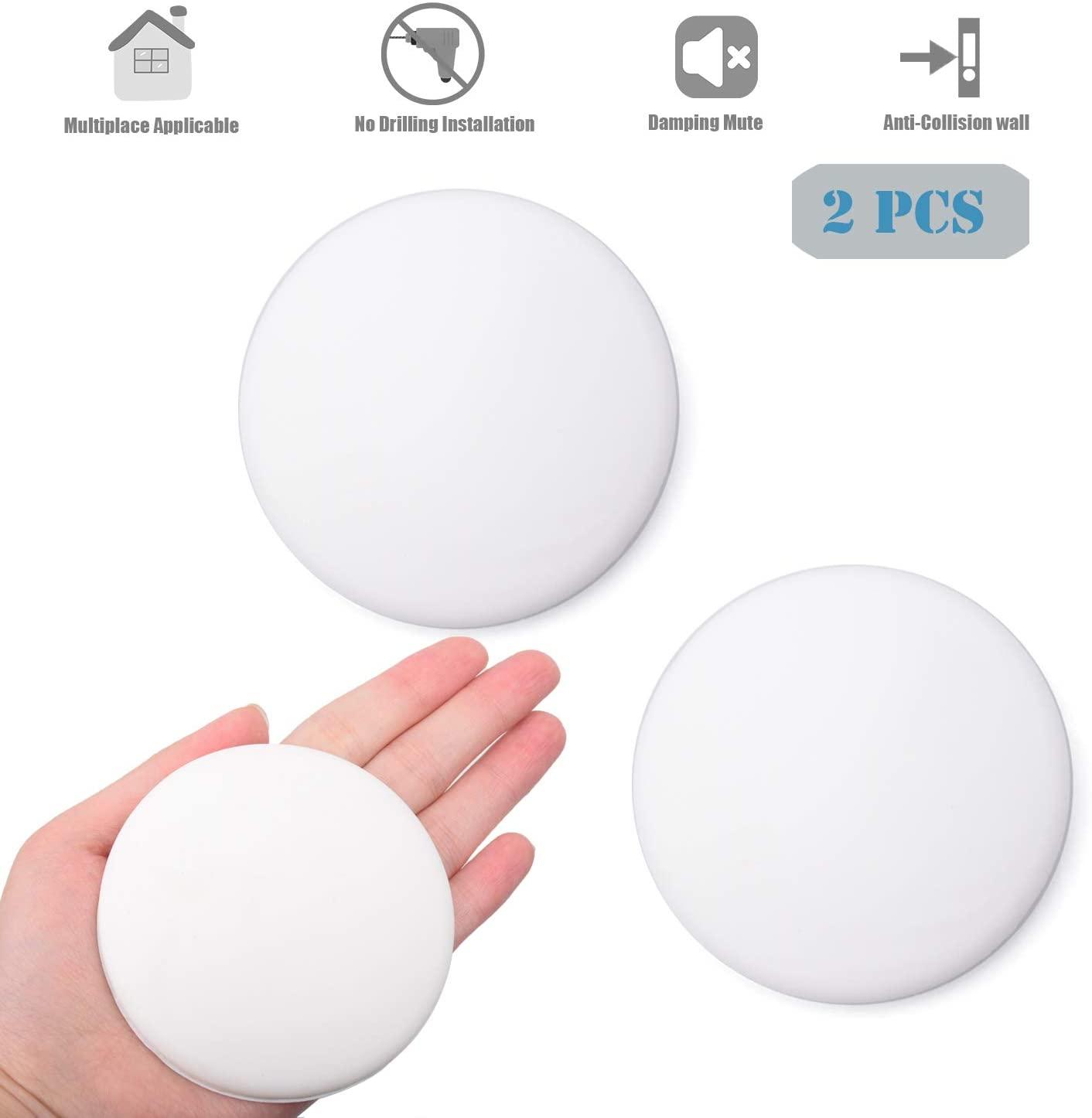 HOMOTEK Door Stopper Wall Protector, 2 PCS 3.15 inch Rubber Door knob Wall Shield Round self Adhesive Door Stops