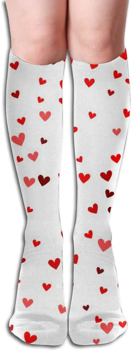 Mantic Red Heart,Design Elastic Blend Long Socks Compression Knee High Socks (50cm) for Sports