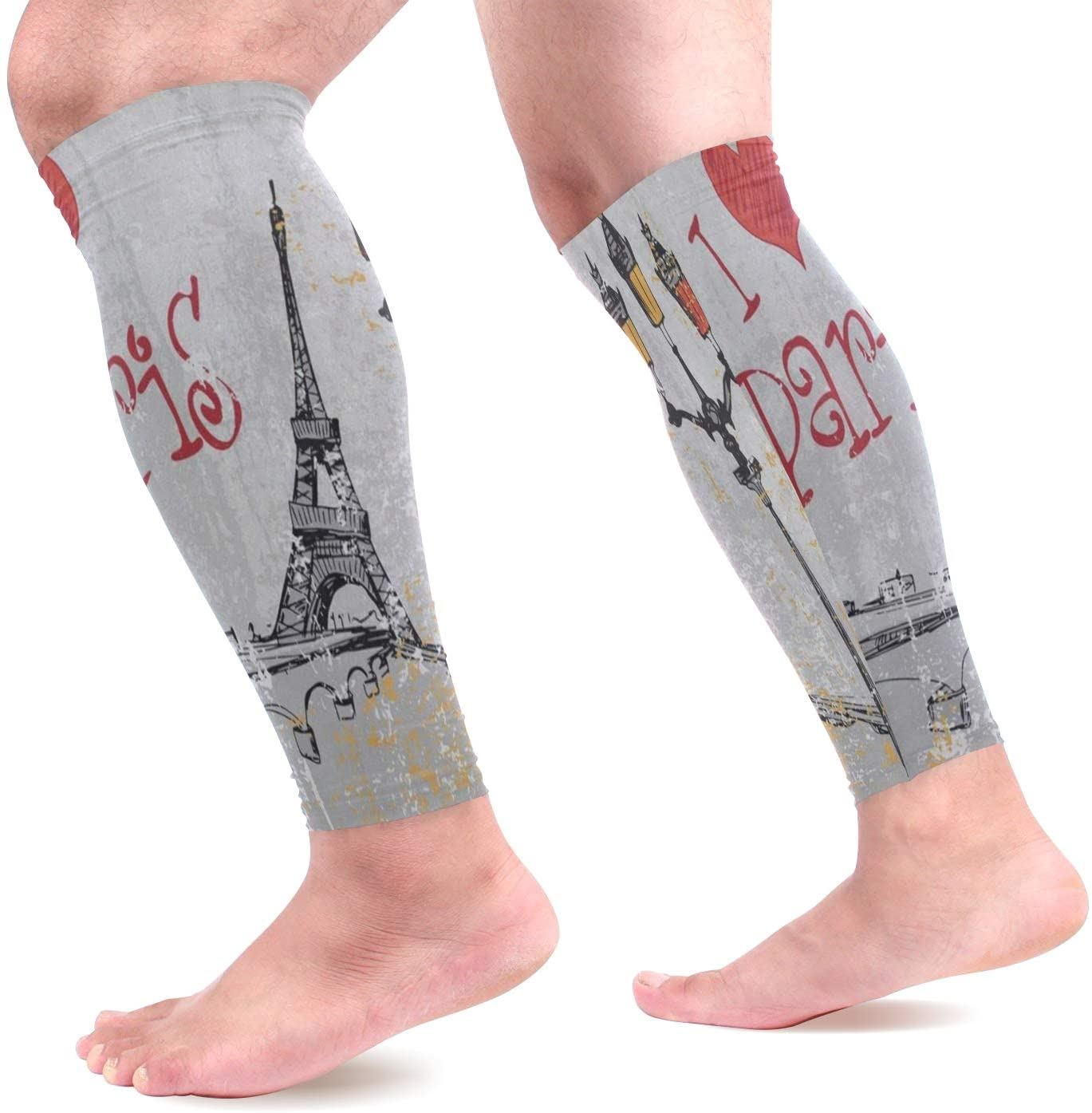 Calf Compression Sleeves Women Intage France Street Love Paris Eiffel Tower Footless Calf Compression Socks for Running Shin Splint Calf Pain Relief Leg Support Sleeve for Running Air Nurses Cycling M