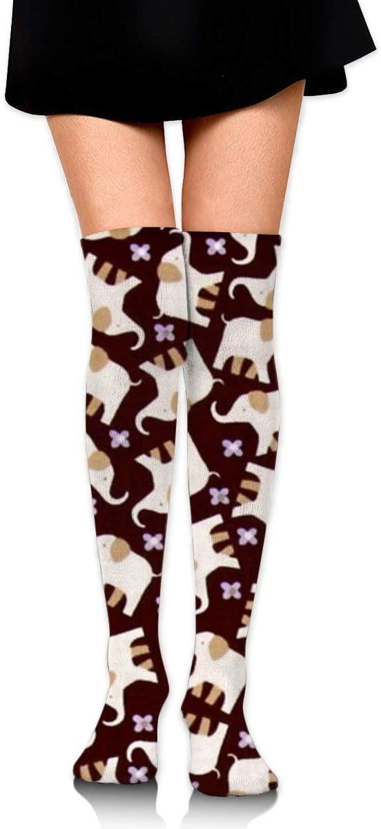 ~ Cute Elephant Animal Compression Socks Long Stockings for Women Girls - Thigh High Stockings for Medical, Nurses, Pregnancy, Travel, Running, Flight