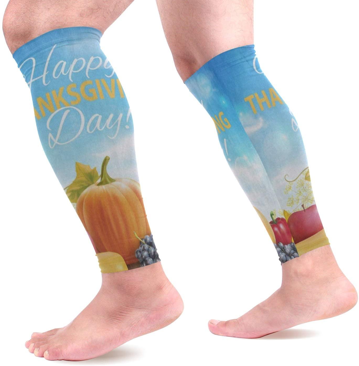 Calf Compression Sleeves Happy Thanksgiving Pumpkin Grape Fruit Harvest Leg Compression Socks for Runners, Shin Splint, Varicose Vein & Calf Pain Relief - Calf Guard for Running, Cycling, Nurses Women