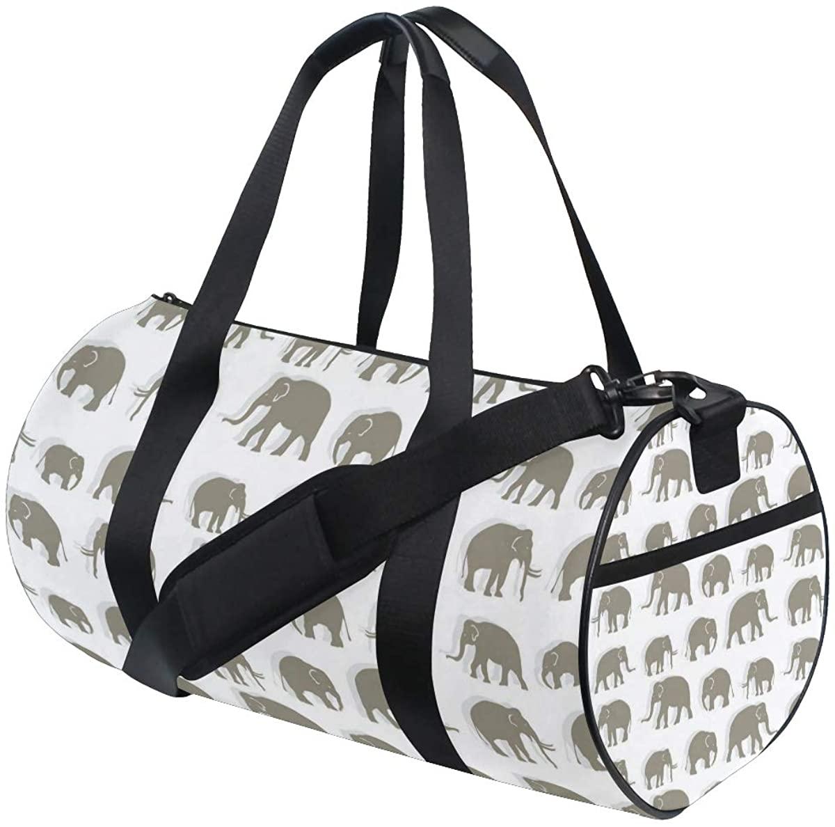 OuLian Gym Bag Cartoon Cute Elephant Women Canvas Duffel Bag Cute Sports Bag for Girls