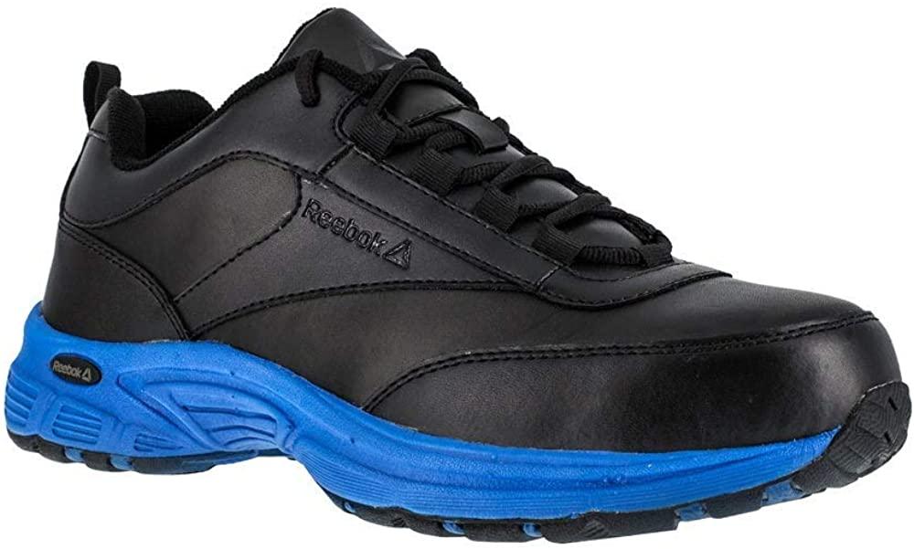 Reebok Mens Black/Blue Leather Athletic Work Oxford Ateron Steel Toe 6 W