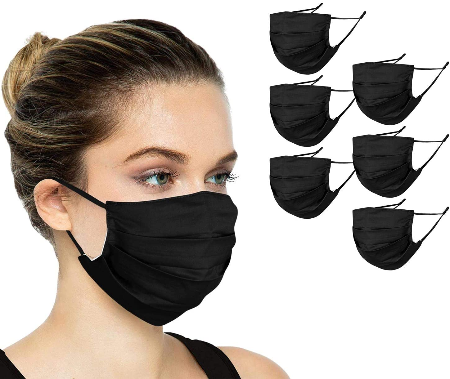 6 Pack Unisex Reusable Pleated Cotton Cloth Face Mask with Adjustable Elastic, 2 Layers, Washable, Adjustable Nose Bridge (Size OS, 6 Pack)