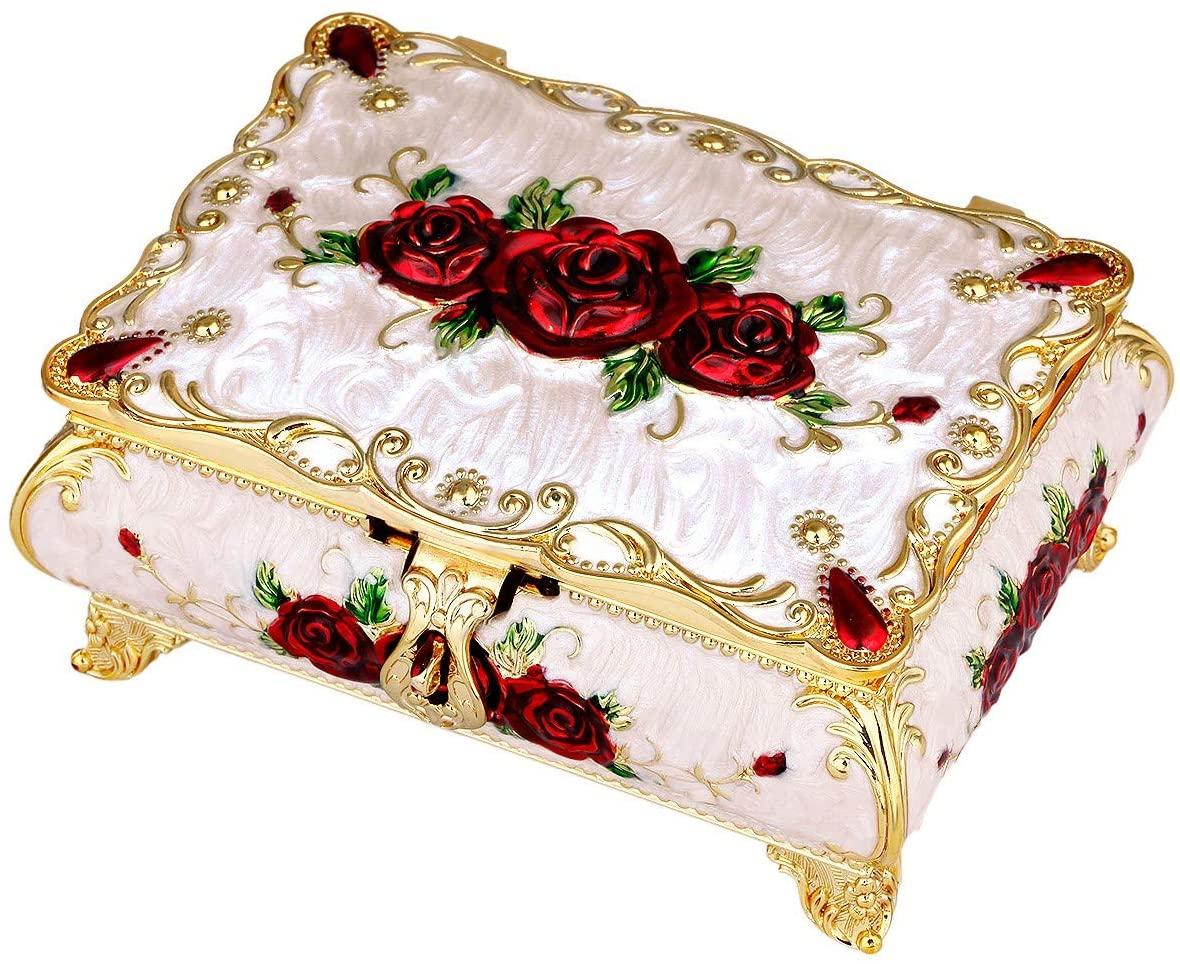 Nupuyai Luxury Vintage Rectangle Enameled Decorative Metal Jewelry Trinket Box for Women, Buckle Closure, Red Rose Pink Box