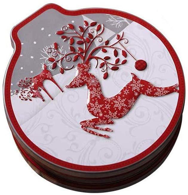 Christmas Tin Gift Box Candy &Cookie Storage Box Hanging Tree Xmas Decor Box (C)