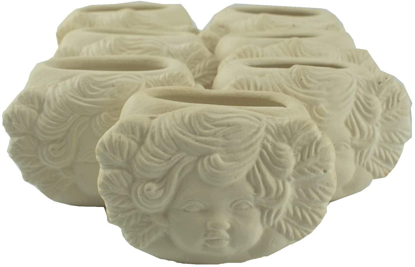 Connie N Randy Set of 7 DIY Ceramic Unpainted Napkin Rings with Cherubs