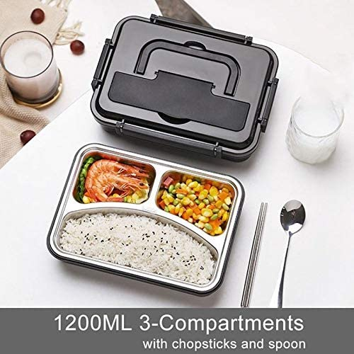YYIJUN-FHENE Bento Box, 1200ML /1500ML Lunch Box Containers with Compartments Portable Handle Lunch Box, Stainless Steel Food Container Lunch Bag (Color : Purple-Three compartments)