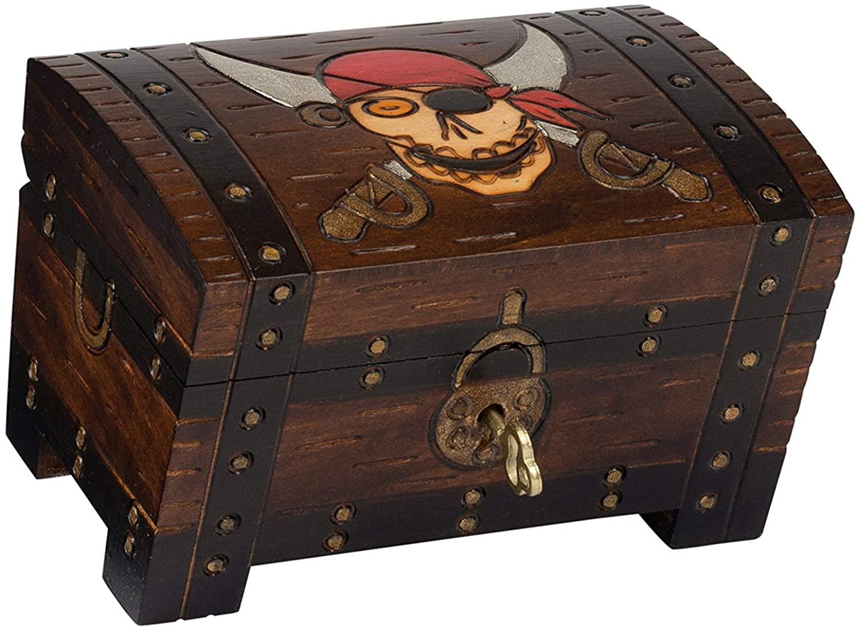 Pirate Chest Box Polish Handmade Wood Keepsake Jewelry Box