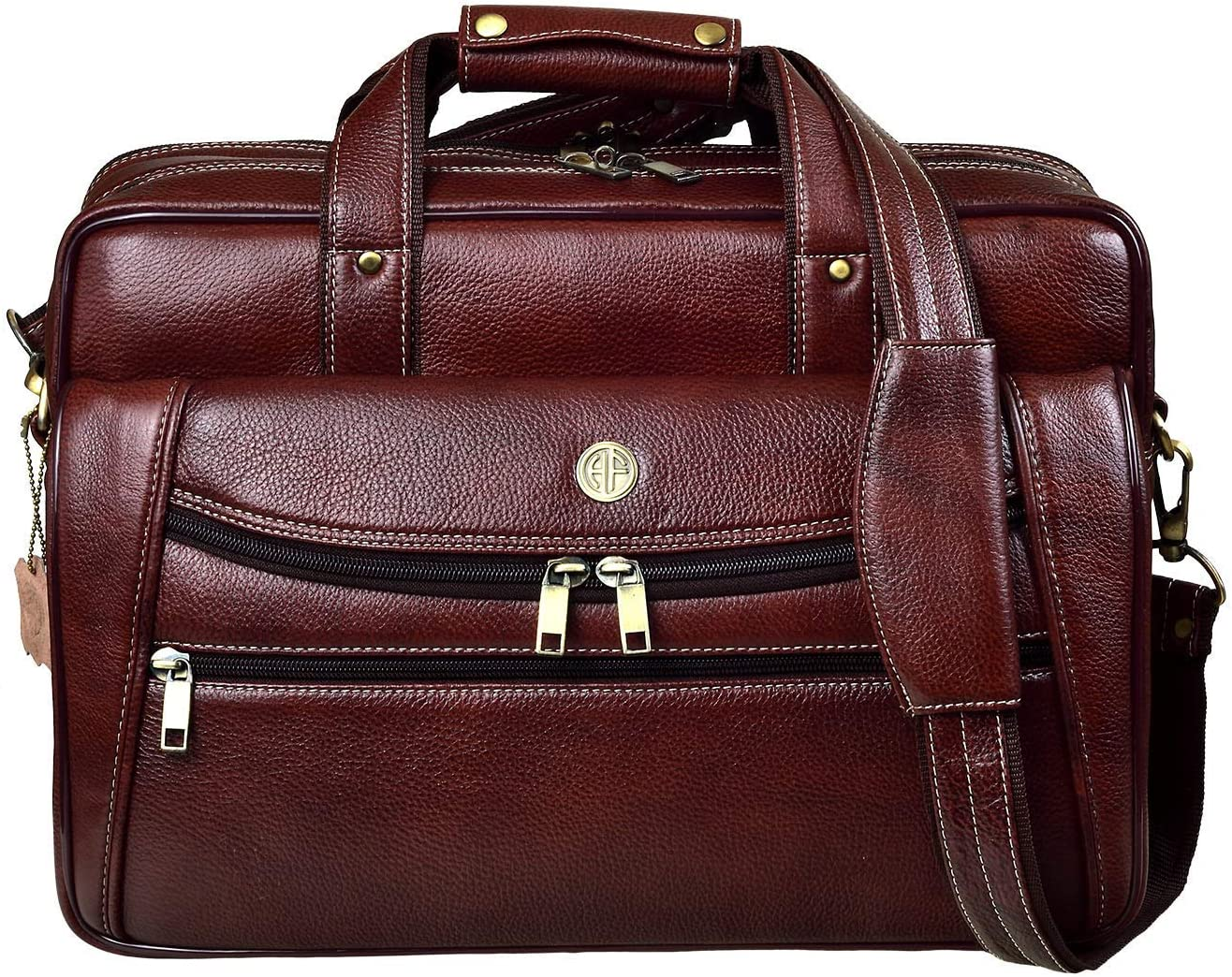 Rang Resha Bombay Brown Leather 15.6 inch Laptop Messenger Bag (L=39,B=9, H=27 cm) LB166