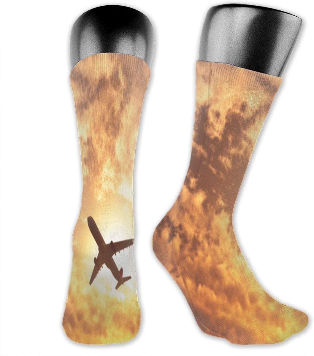 Plane Passing by The Sun Unisex Outdoor Long Socks Sport Athletic Crew Socks Stockings