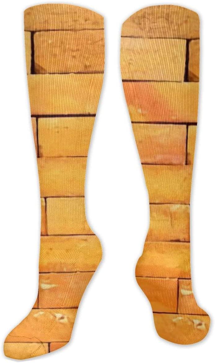 Compression Sock for Women & Men,Up Brick Wall CasualLongKneeHighTubeSocksforRunnning,SoccerAthleticSports,Travel-50cm