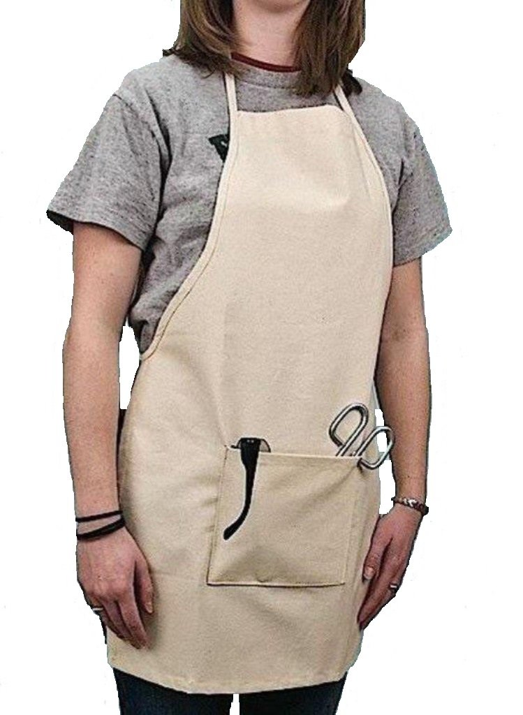 United Scientific Supplies LBAC01 Natural Canvas Lab Apron, 20 Width, 28 Height