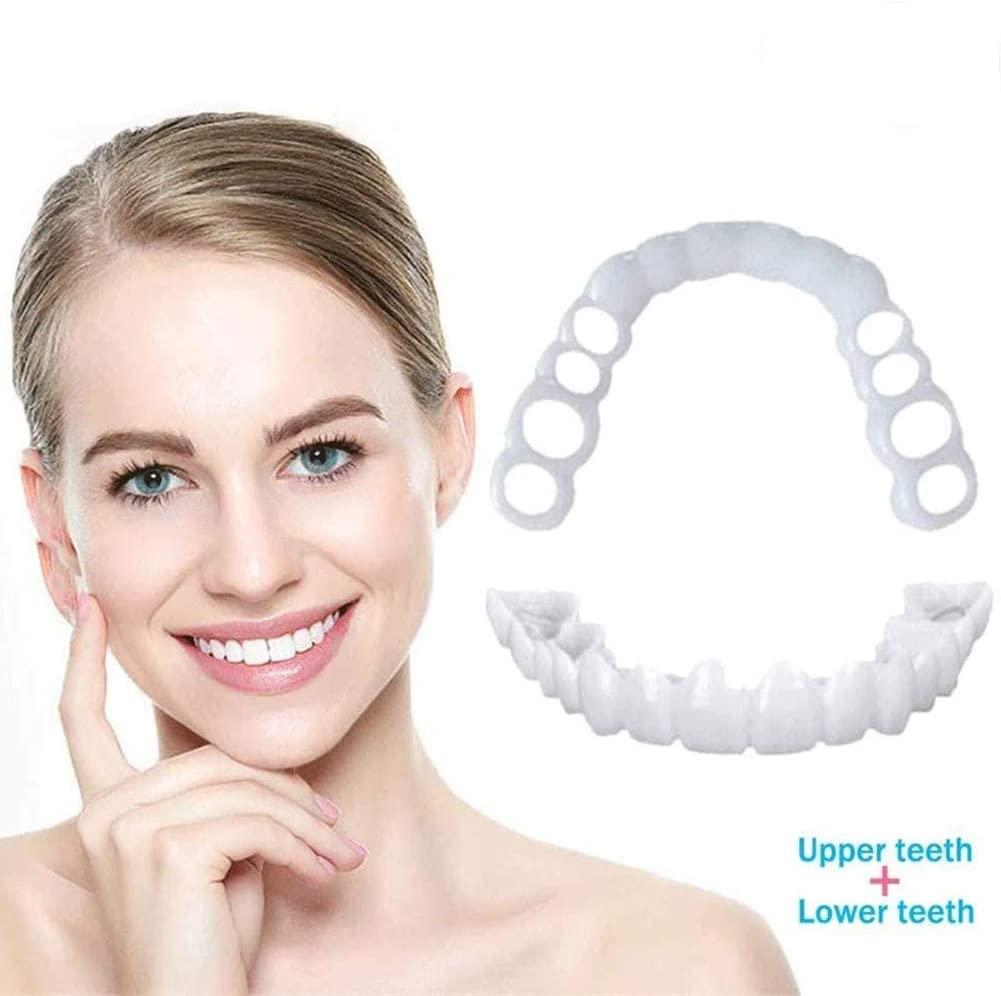 5 Pairs Perfect Veneers - Works for TOP and Bottom Teeth Veneers to Snap in Teeth Perfect Smile Whitening Teeth Cosmetic Teeth for Irregular Stained Missing and Chapped Teeth