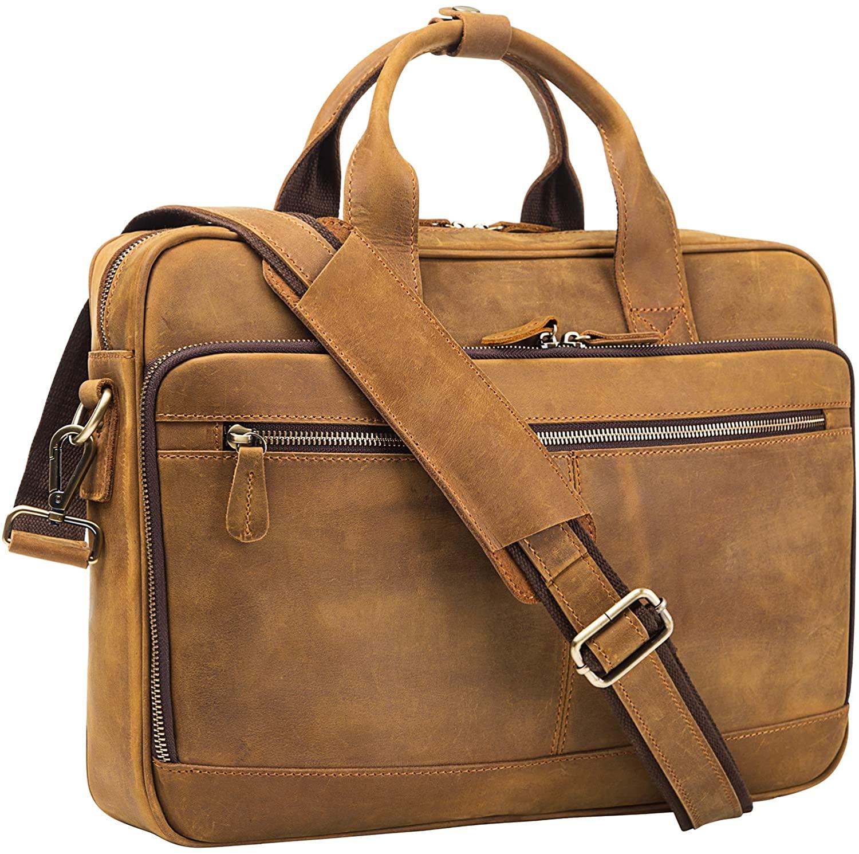AIDU Leather Messenger Bag for 14 Inch Laptop, Premium Vintage Genuine Leather Briefcase, Rustic Retro Tablet Bag Shoulder bag Attache Case, Office Business Laptop Briefcase for Men, AI01-2