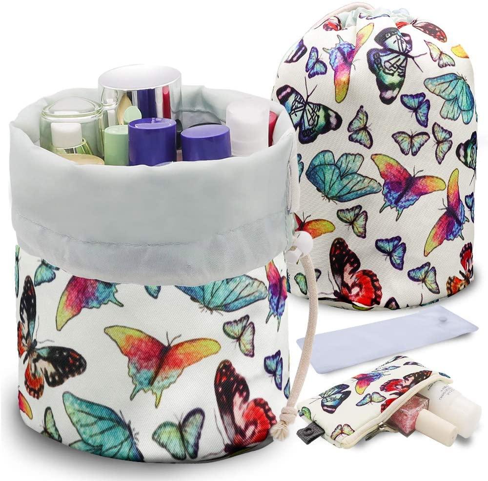 UYRIE Portable Makeup Toiletry Cosmetic Travel Organizer Bag, Large Drawstring Hanging Packing Bag for Women Girl Men, Lightweight Multifunctional Barrel Shaped Storage Bag (Butterfly Family)